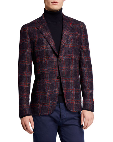 Image 1 of 3: Isaia Men's Plaid Alpaca-Blend Sport Jacket
