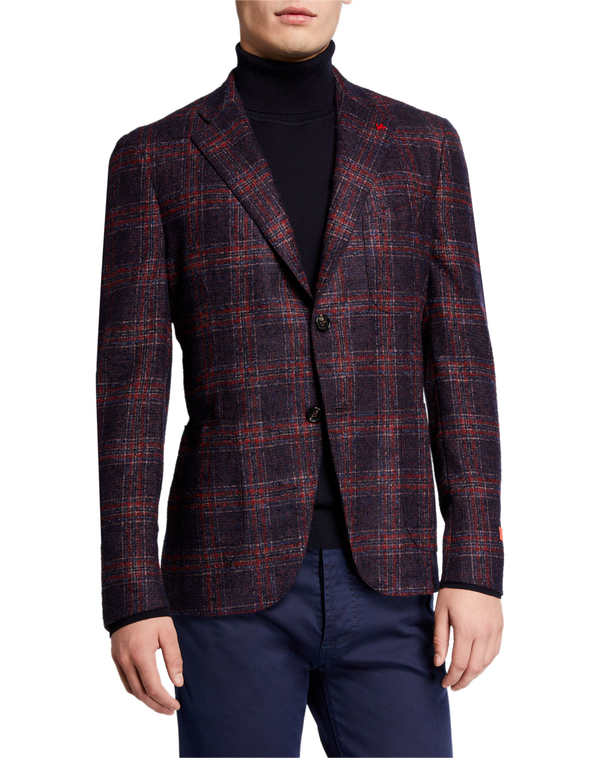 Isaia Men's Plaid Alpaca-Blend Sport Jacket