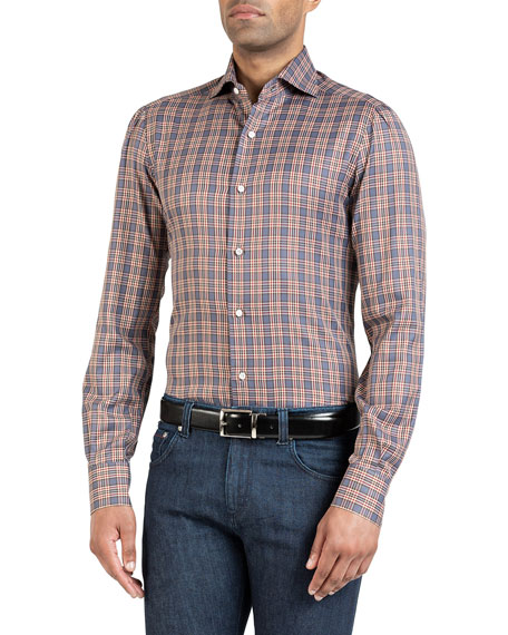 Image 1 of 3: Isaia Men's Plaid Sport Shirt