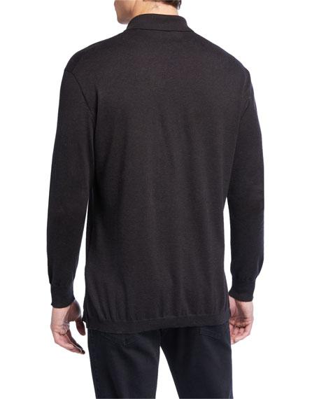 Ermenegildo Zegna Men's Long-Sleeve Jersey Polo Shirt