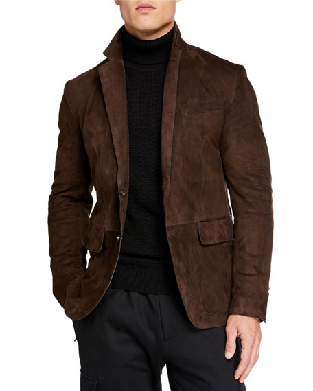 Image 3 of 4: Ermenegildo Zegna Men's Suede Two-Button Jacket