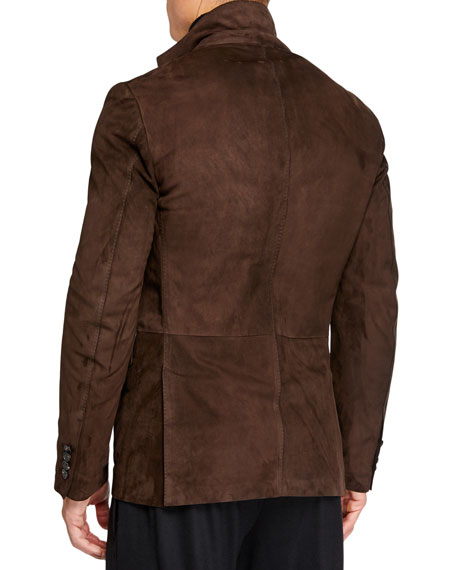Image 4 of 4: Ermenegildo Zegna Men's Suede Two-Button Jacket