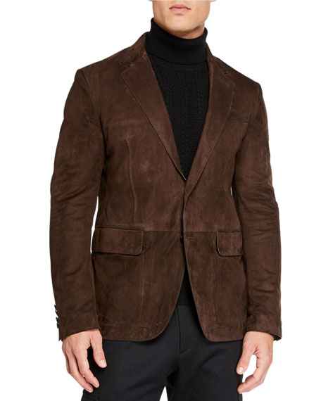 Image 1 of 4: Ermenegildo Zegna Men's Suede Two-Button Jacket