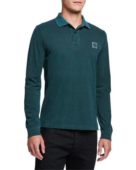 Stone Island Men's Long-Sleeve Cotton Polo Shirt