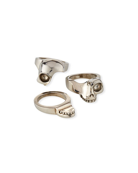 Alexander McQueen Men's Three-Row Divided Skull Ring
