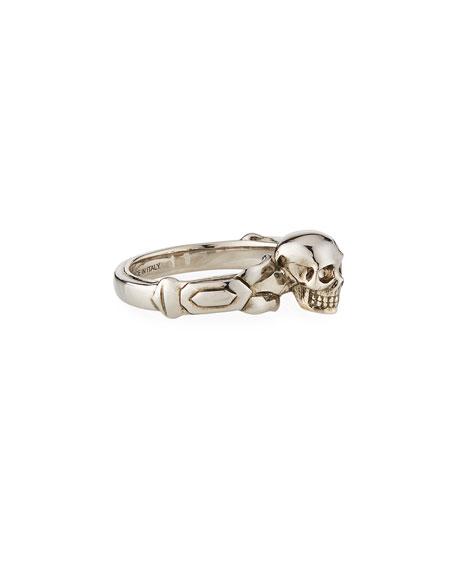 Alexander McQueen Men's Textured Skull Ring, Size 9-10