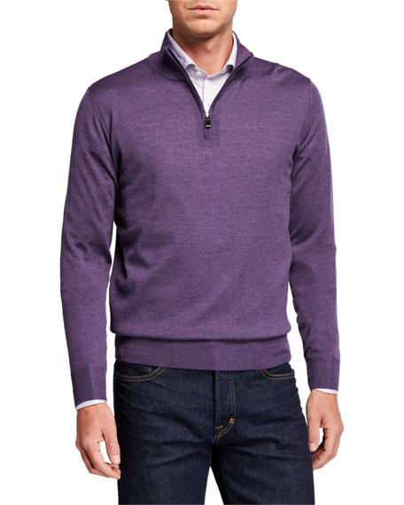 Canali Men's 1/4-Zip Mock-neck Sweater