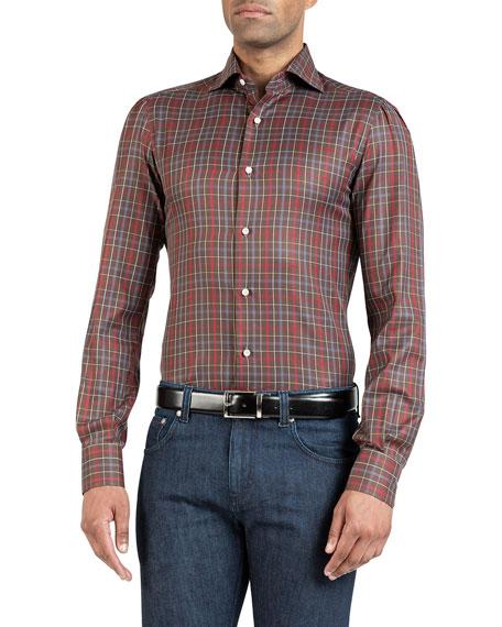 Isaia Men's Plaid Cotton Sport Shirt