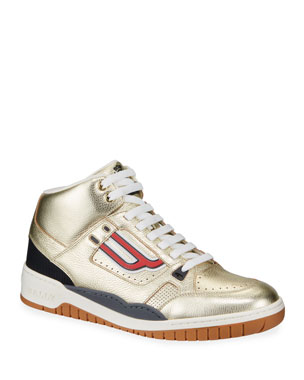 online store 36ae0 2f1a5 Bally Men s King Metallic Leather High-Top Sneakers