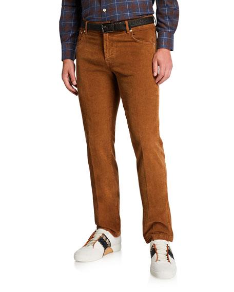 Kiton Men's Straight-Leg Corduroy 5-Pocket Pants, Vicuna