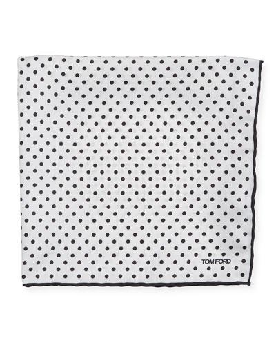 Men's Dotted Silk Pocket Square  White/Black