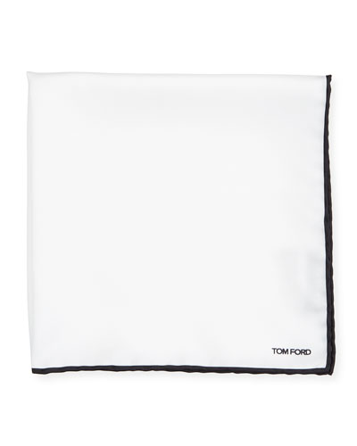 Men's Solid Pocket Square with Contrast Trim