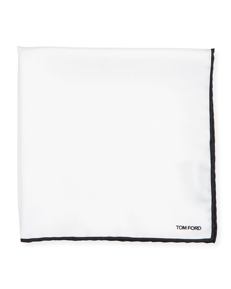 TOM FORD Men's Solid Pocket Square with Contrast Trim
