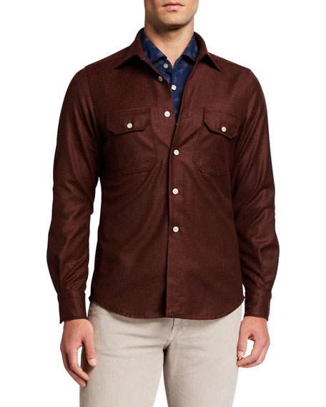 Kiton Men's Tic Weave Overshirt