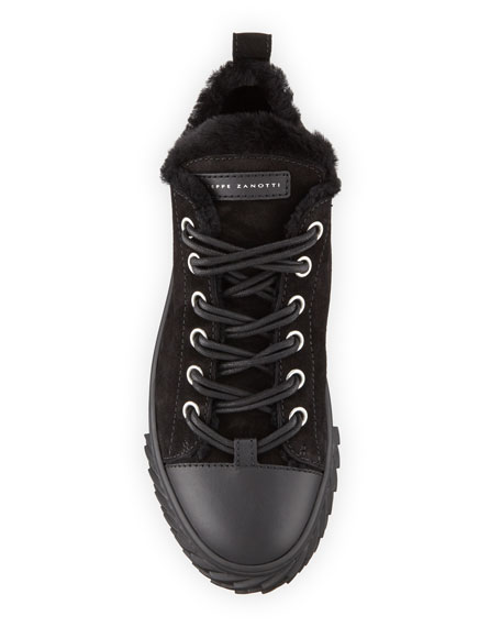 Giuseppe Zanotti Men's Blabber Suede Sneakers with Shearling Lining
