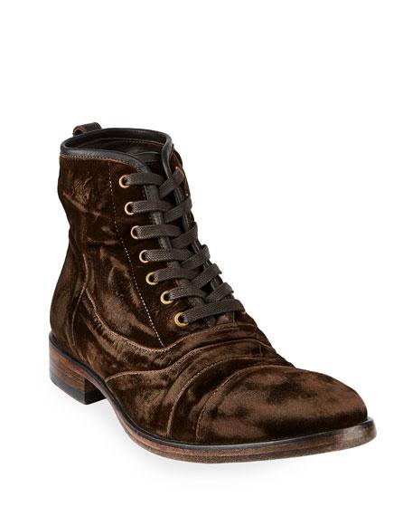 John Varvatos Men's Fleetwood Velvet Lace-Up Boots