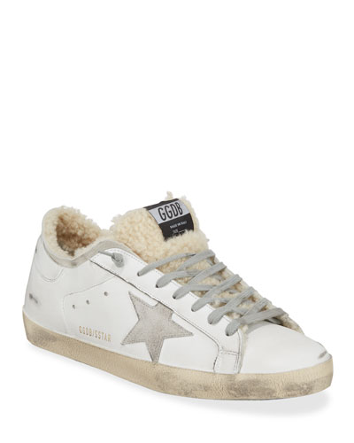 Men's Superstar Distressed Leather/Shearling Sneakers