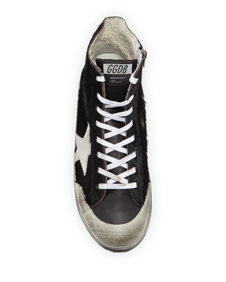 Image 2 of 4: Golden Goose Men's Francy High-Top Calf Hair Sneakers w/ Dirty Treatment