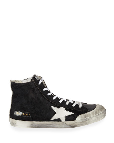 Image 3 of 4: Golden Goose Men's Francy High-Top Calf Hair Sneakers w/ Dirty Treatment