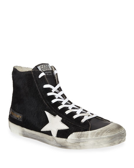 Image 1 of 4: Golden Goose Men's Francy High-Top Calf Hair Sneakers w/ Dirty Treatment