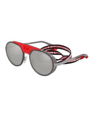 cd41211d745f Dolce & Gabbana Men's Round Logo-Stamp Sunglasses with Web Retainer