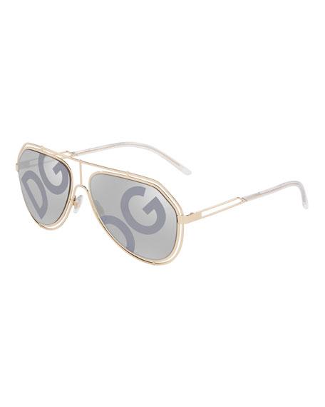 Dolce & Gabbana Men's DG Monogram Metal Outline Aviator Sunglasses