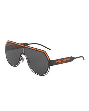 afbe50410f5a Dolce & Gabbana Men's Fluorescent Aviator Mask Sunglasses