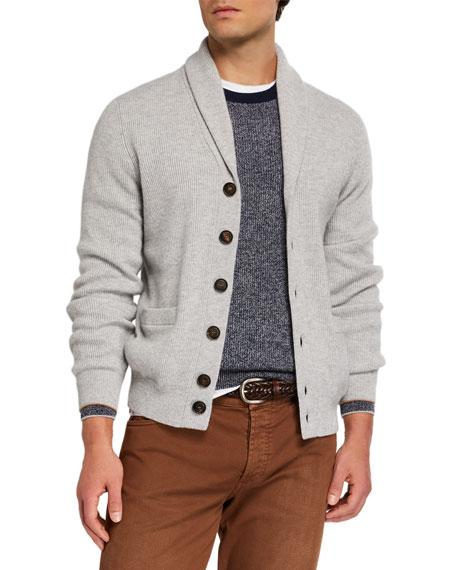 Brunello Cucinelli Men's Cashmere Shawl-Collar Cardigan Sweater