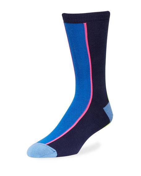 Paul Smith Men's Vertical Neon Knit Socks