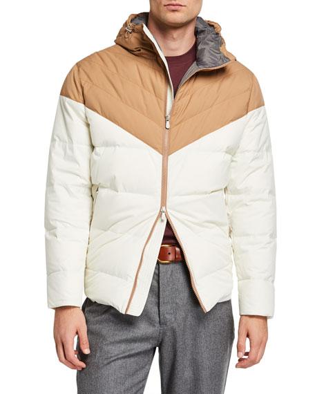Brunello Cucinelli Men's Colorblock Padded Zip-Front Hooded Jacket