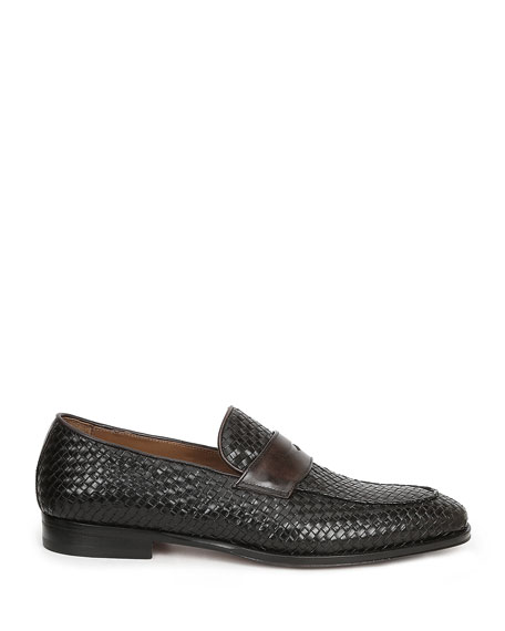 Bruno Magli Men's Fanetta Woven Leather Penny Loafers