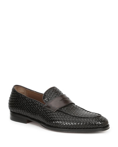 Men's Fanetta Woven Leather Penny Loafers