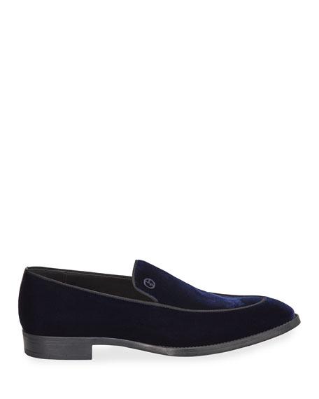 Giorgio Armani Men's Velvet Formal Loafers, Navy