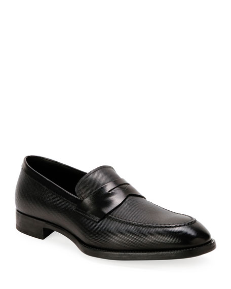 Giorgio Armani Men's Textured Leather Penny Loafers