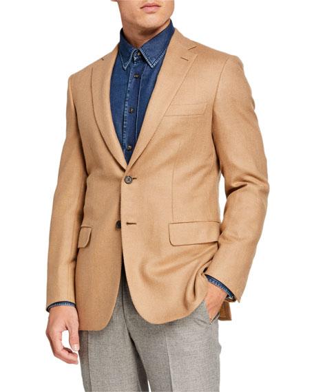Brioni Men's Camel Herringbone Two-Button Jacket