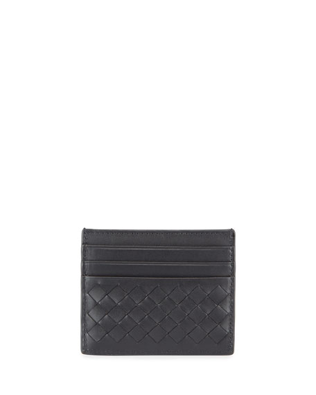 Bottega Veneta Cases Men's Woven Leather Credit Card Case