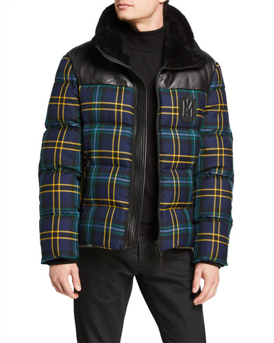 Men's Tartan Wool/Lamb Leather Down Jacket