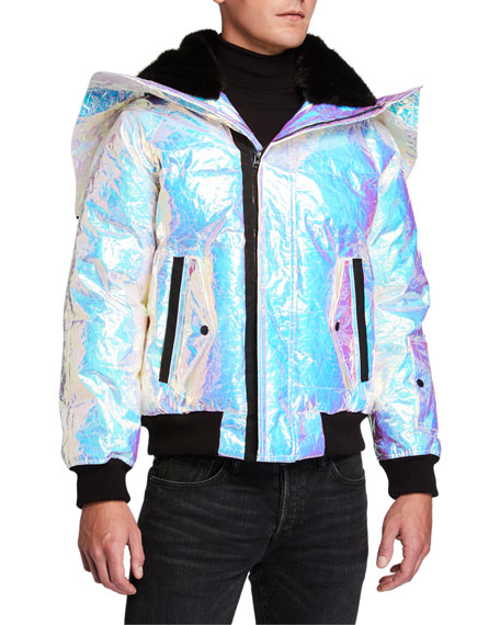 Ovadia & Sons Men's Snorkel Holographic Puffer Coat