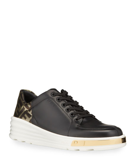 Fendi Men's Logo-Back Leather Low-Top Sneakers