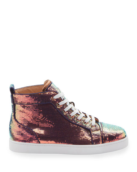 Christian Louboutin Men's Louis Orlato Sequined Mid-Top Sneakers