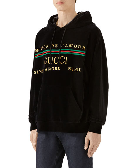 Gucci Men's Velour Logo Hoodie Sweatshirt