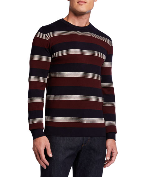 Emporio Armani Men's Multi-Stripe Crewneck Sweater