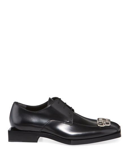 Balenciaga Men's Rim BB Square Leather Derby Shoes