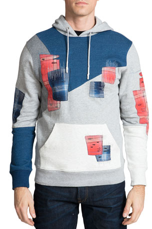 PRPS Men's Patched Fleece Hoodie Sweatshirt