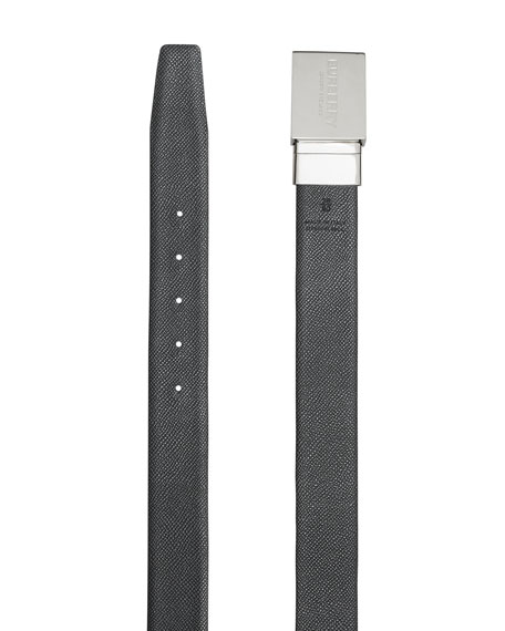 Burberry Men's Reversible Grained Leather Belt with Logo Plaque