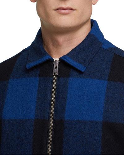 Men's Buffalo Check Zip-Front Jacket  Blue