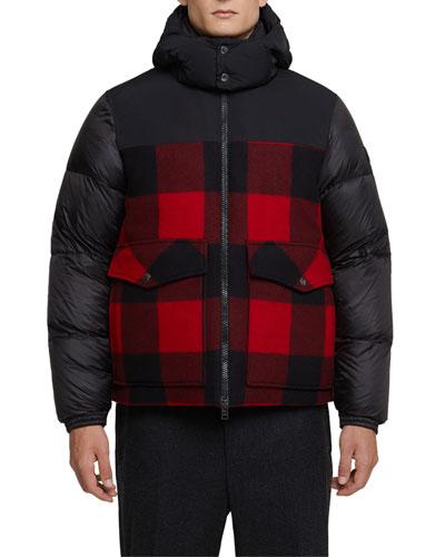 Men's Buffalo-Panel Puffer Bomber Jacket