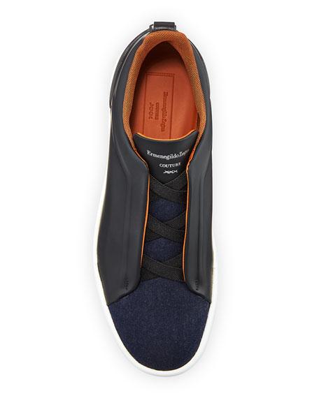 Ermenegildo Zegna Men's Triple-Stitch Leather & Wool Sneakers