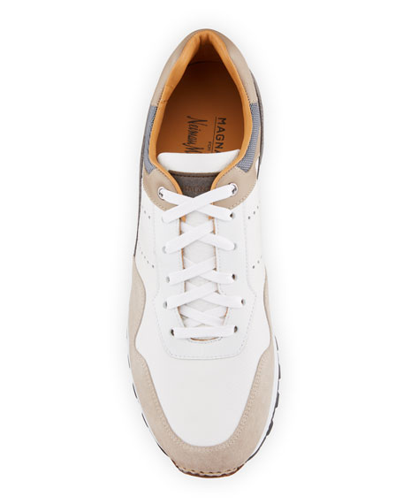 Image 2 of 4: Magnanni for Neiman Marcus Men's Colorblock Leather/Suede Runner Sneakers