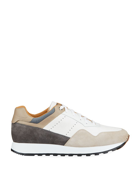 Image 3 of 4: Magnanni for Neiman Marcus Men's Colorblock Leather/Suede Runner Sneakers